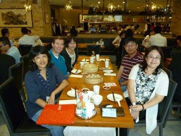 Enjoying xiaolongbao at Din Tai Fung with friends